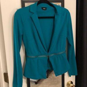Turquoise blazer with detachable bottom